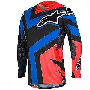Camisa Alpinestars Techstar Factory 16 Preta Vermelha Azul