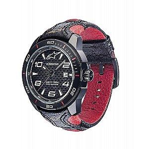 Relógio Alpinestars Tech Preto Pulseira Couro Vermelha