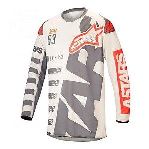 Camisa Alpinestars Racer Braap 18 Cinza Vermelho Fluo