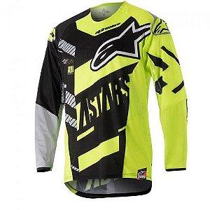 Camisa Alpinestars Techstar Screamer 18 Preta Amarela Cinza