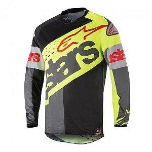 Camisa Alpinestars Racer Flagship 18 Amarela Preta Cinza