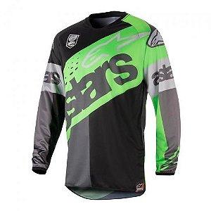 Camisa Alpinestars Racer Flagship 18 Verde Cinza