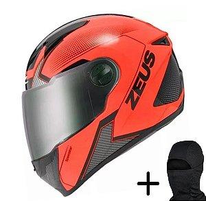 Capacete Moto Zeus 811 Fluor Laranja AL6 Preto