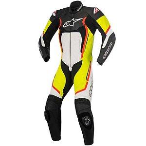 Macacão Moto Alpinestars Motegi V2 Branco Amarelo Vermelho