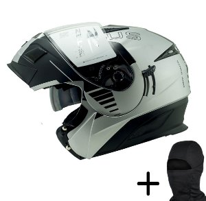 Capacete Moto Zeus 3020 Fosco Prata AB12 Preto