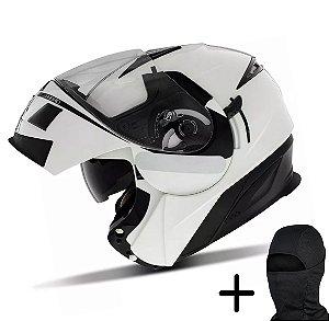 Capacete Moto Zeus 3020 Branco Pérola AE1 Preto
