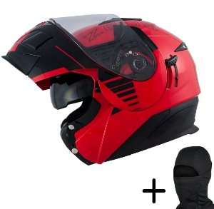 Capacete Moto Zeus 3020 Solid Vermelho AB12 Preto