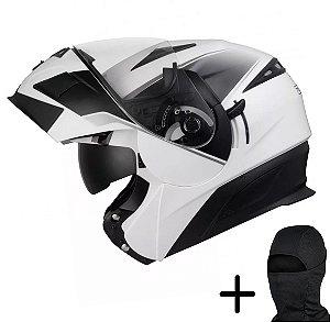 Capacete Moto Zeus 3020 Branco AB2 Preto