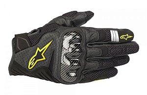 Luva Moto Alpinestars SMX-1 Verão V2 Preta Amarela