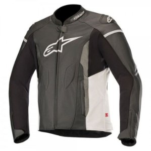 Jaqueta Moto Alpinestars Faster Preta Branca Couro