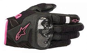 Luva Moto Feminina Alpinestars SMX-1 Verão V2 Preta Rosa