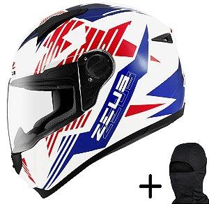 Capacete Moto Zeus 811 Solid Branco AL28 Azul