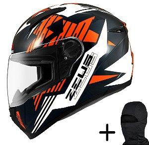 Capacete Moto Zeus 811 Solid Preto AL28 Laranja