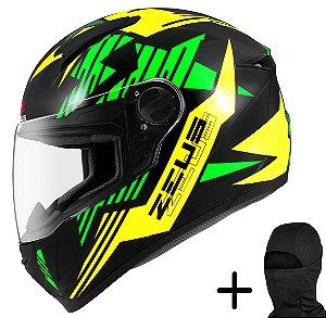 Capacete Moto Zeus 811 Solid Preto AL28 Verde