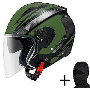 Capacete Moto Zeus 205 Fosco Verde AQ1 Preto