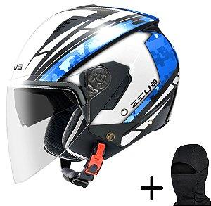 Capacete Moto Zeus 205 Branco AQ1 Preto Azul