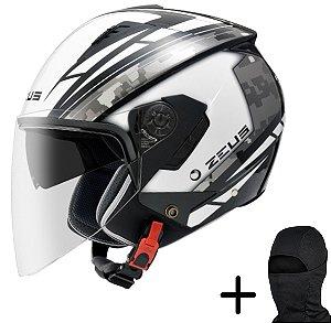 Capacete Moto Zeus 205 Branco AQ1 Preto Cinza