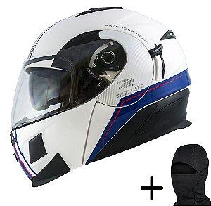 Capacete Moto Zeus 3020 Solid Branco AB11 Azul