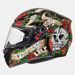 Capacete Moto MT Revenge Skull Roses Preto Vermelho