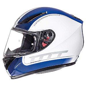 Capacete Moto MT Revenge Binomy Preto Branco Azul