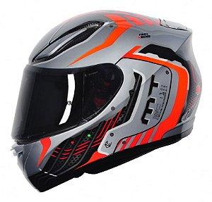 Capacete Mt Moto Revenge Cyborg Silver Orange