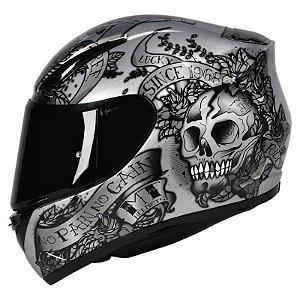 Capacete Moto Mt Revenge Skull Silver