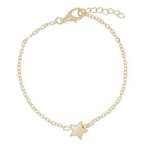 Pulseira Folheada em Ouro com Pingente Estrela 18K