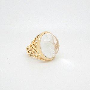 Anel com Pedra Natural Folheado em Ouro 18K