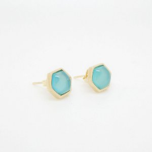 Brinco Pequeno com Pedra Natural Ágata Azul céu Folheado em Ouro 18k