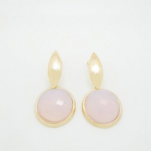 Brinco Grande com Pedra Natural Quartzo Rosa Folheado em Ouro 18k