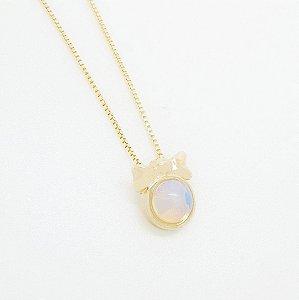 Colar com Pedra Natural Opalina Folheado em Ouro 18k