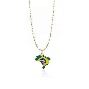 Colar Brasil Mapa Folheado a Ouro 18k