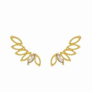 Brinco Ear Cuff Com Pedra Zircônia Navete Folheado a Ouro 18k