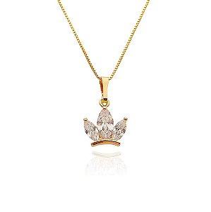 Colar Coroa com Pedra Zircônia Folheado a Ouro 18k