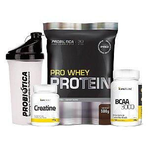 Combo: Pro Whey Protein + BCAA 3000 + Creatine + Coqueteleira