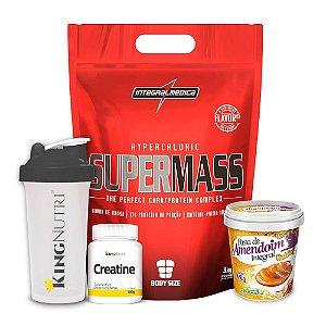 Combo: SUPERMASS + Creatine + Pasta de amendoim + Coqueteleira
