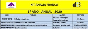 KIT ANALIA FRANCO - 1º ANO - ANUAL 2020