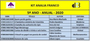 KIT ANALIA FRANCO - 5º ANO ANUAL 2020