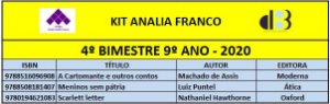 KIT ANALIA FRANCO - 9º ANO - 4º BIMESTRE 2020