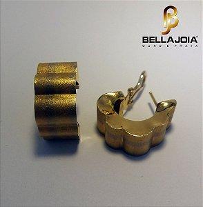 Brincos tipo Argola de Pressão e Pino Ouro 18k  3 tons L51