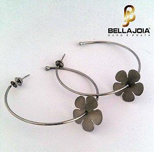 Brincos Argolas Ouro Branco com Flor L50,7