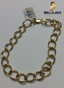Pulseira Ouro 18k Elos Ovais L 14.2