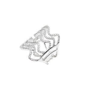 Anel Prata 925 Cravejado com Zircônias Brancas Tipo Queen VD 199