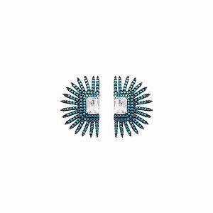 Brincos Prata Tipo Inca com Nano Turquesas  VD 275