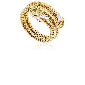 Anel Prata 925 Banho Ouro Cobra Citrino VD 222