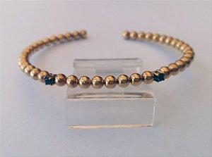 Pulseira Ouro Bracelete Quartzo Fumê Bolinhas L 43