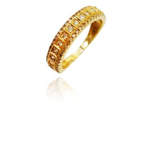 Anel Ouro Meia Aliança Quadradinha L 48.6
