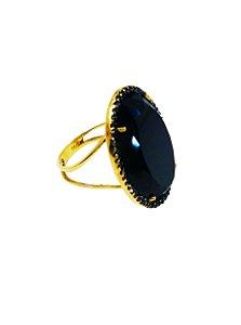 Anel Ouro Amarelo Ônix Oval Diamante Brown L 65