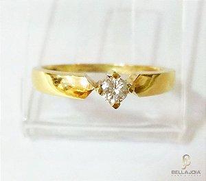 Anel Ouro Solitário Diamante Glamour L 29.5