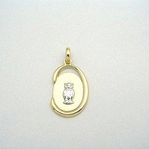 Pingente Ouro 18k Amarelo Formatura Oval Vazado L 11.1